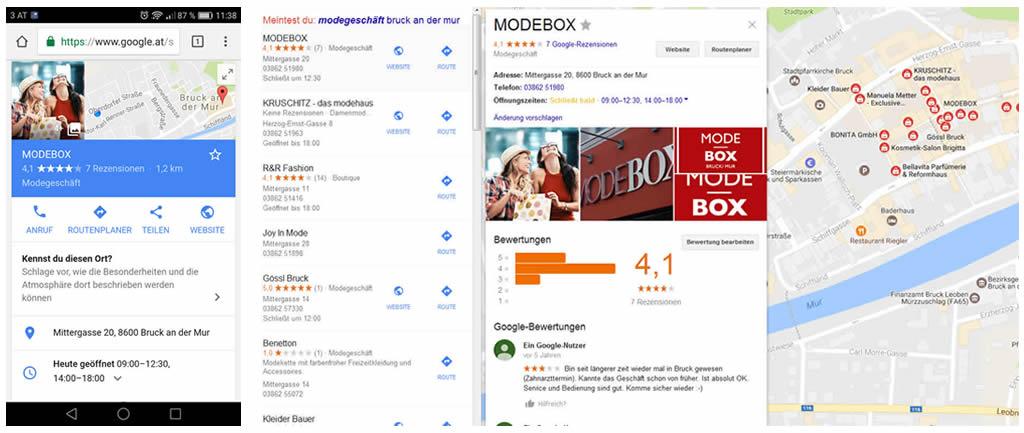 Unterschiedliche Darstellung Google My-Business Eintrag für Mobile und Desktop