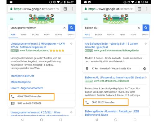 Anruferweiterung Google AdWords