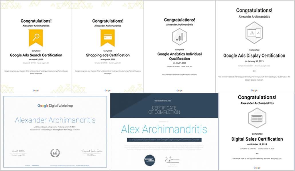 Google Zertifikate alexander Archimandritis